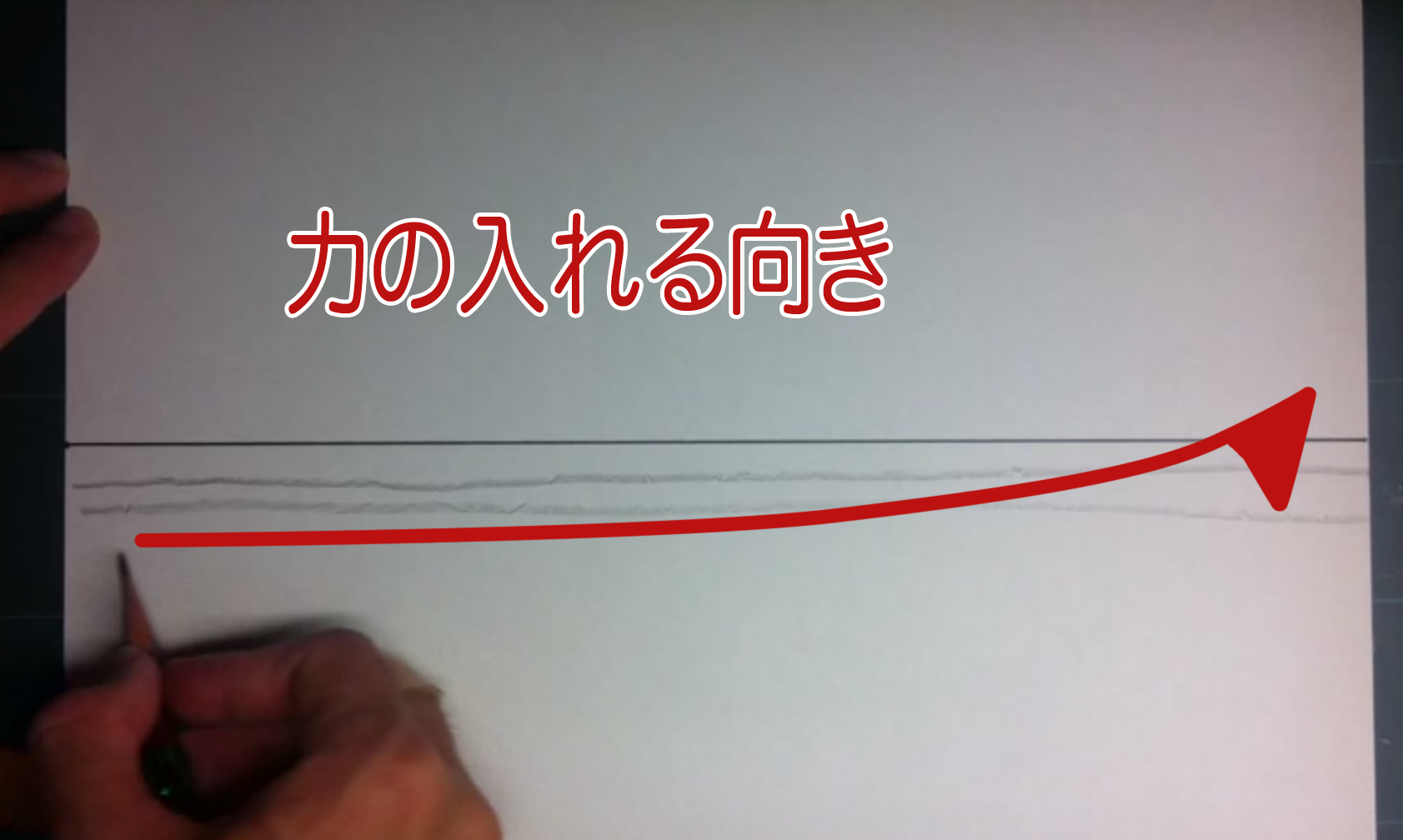 フリーハンドで直線を描く際の力の入れる方向