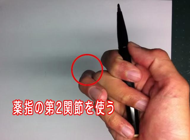 薬指の第2関節を使って描く